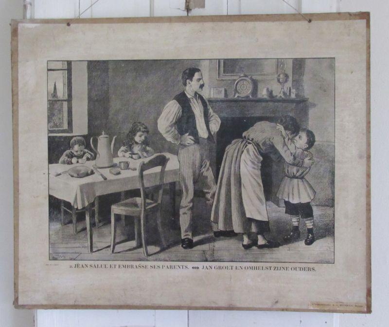 Prachtige Antieke Schoolplaat Uit 1883 Frans Nl Jan Groet En