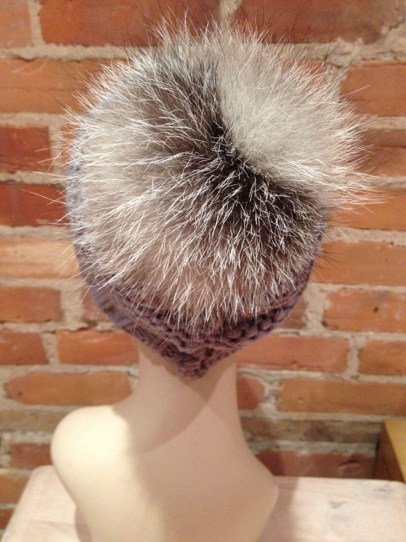 cf21dc622e9 Grey Knit Hat with Detachable Genuine Silver Fox Pom Pom by ElleVintage369  on Etsy