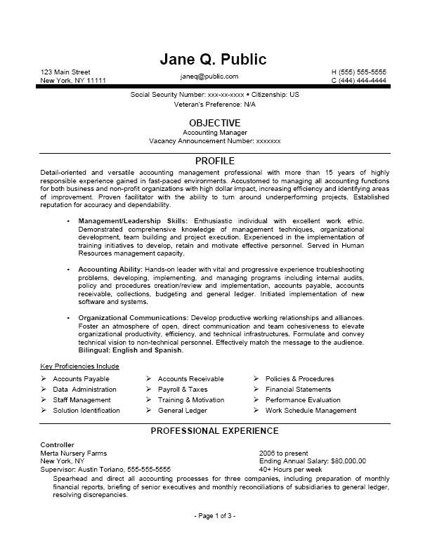 accounting manager resume accounting manager federal resume - government resume samples