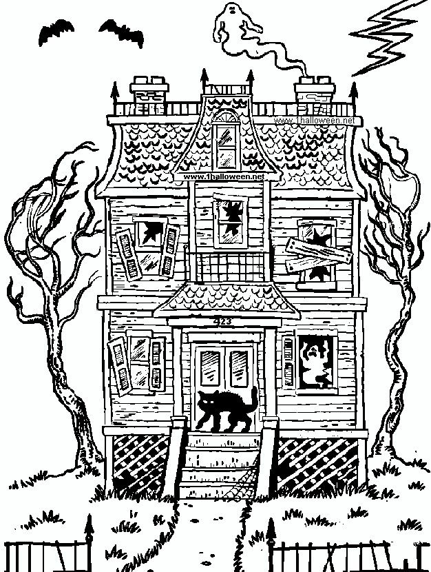 Halloween Haunted House Coloring Page Free Printable