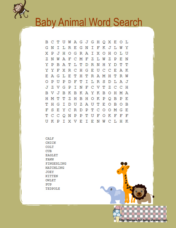Free Printable Jungle Baby Shower Word Search Game