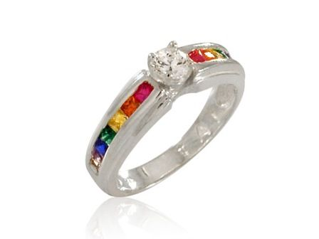 my engagement ring - Rainbow Wedding Rings