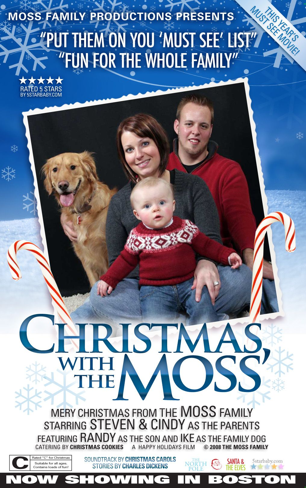 Family Christmas Card styled like Movie Posters. Holiday Cards ...