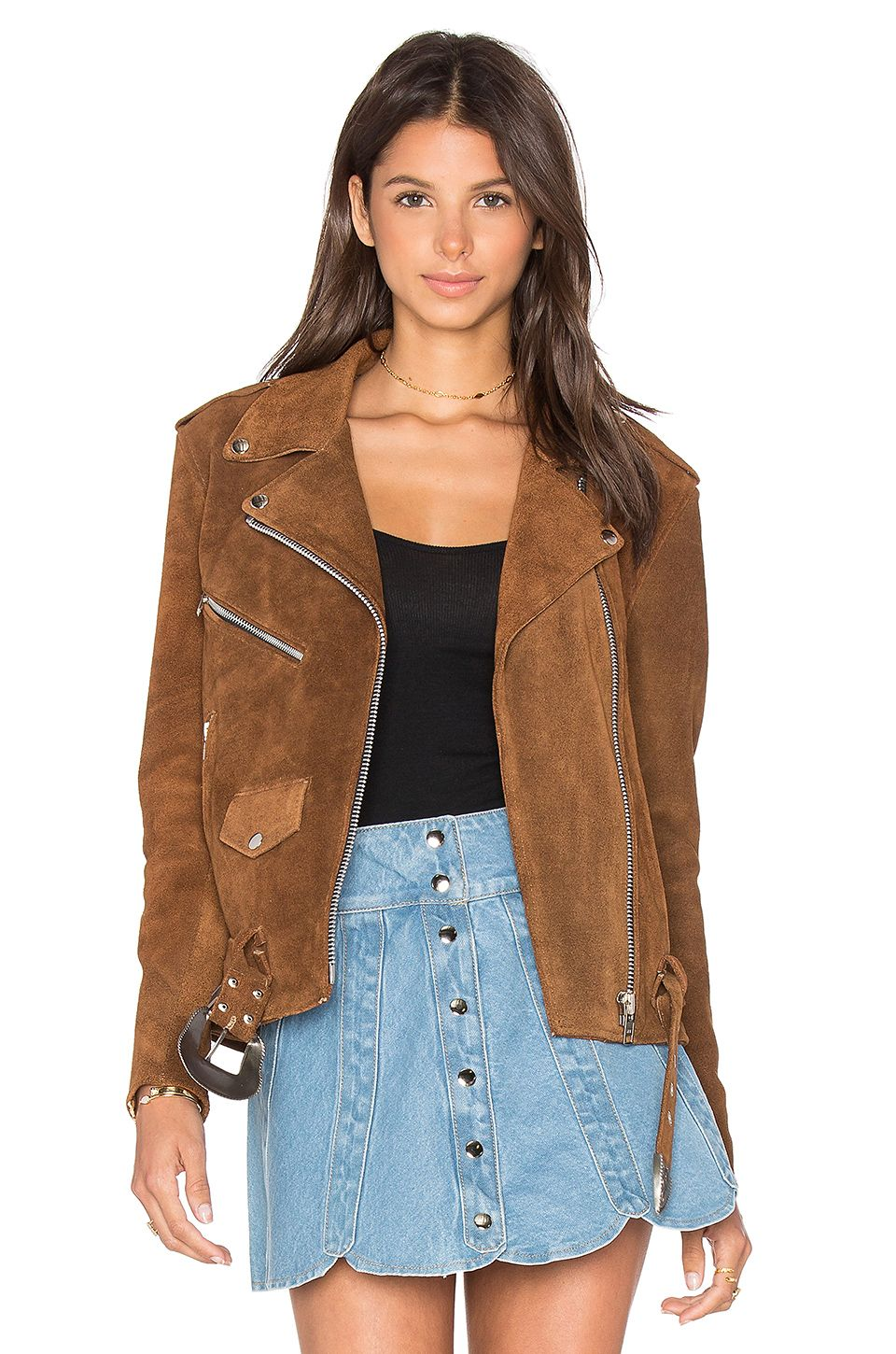 175ed09f80 Understated Leather x REVOLVE Western Suede Moto Jacket in Tan ...