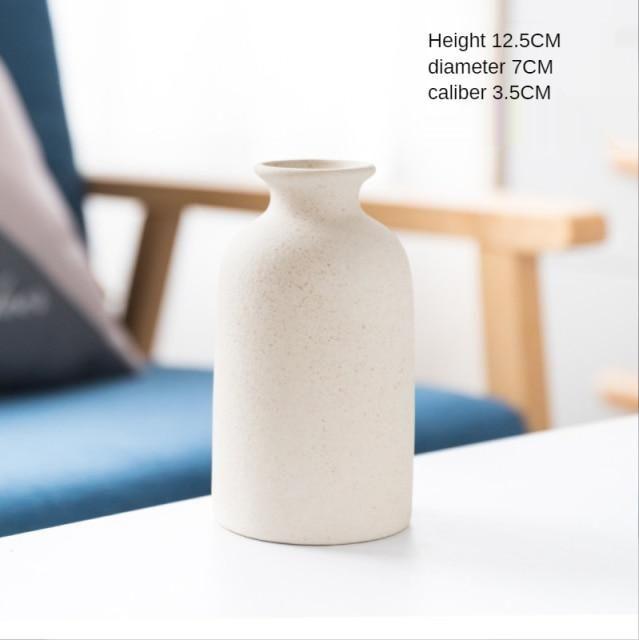 Simple Retro Frosted Ceramic Vase – D