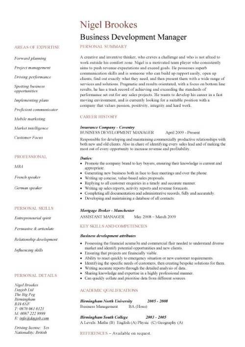 business development resume sample