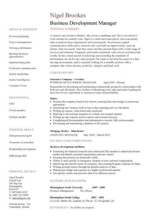 Business Development Resume Sample Kuokim Template