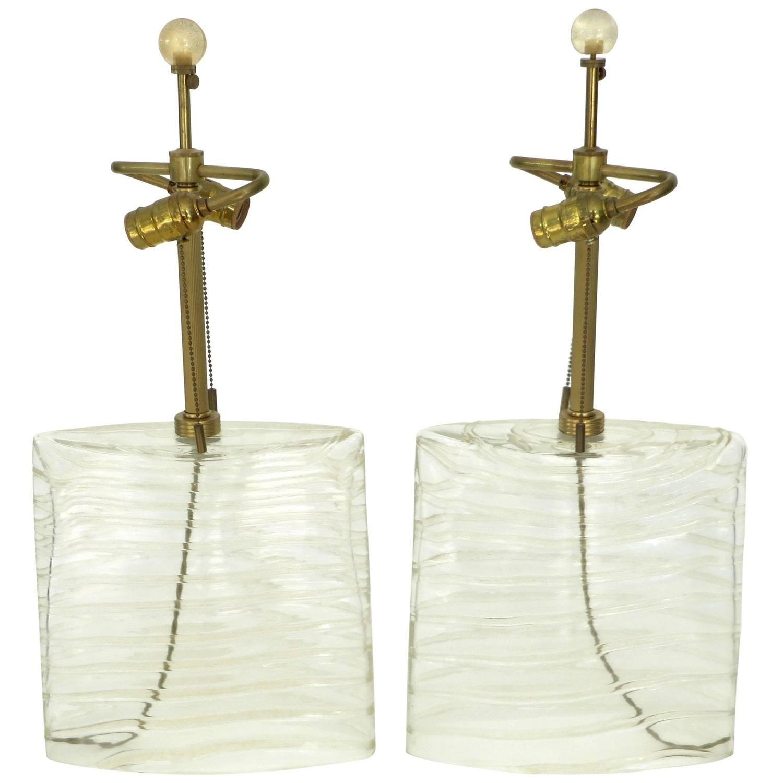 Italian Pair of Donghia Murano Venetian Handblown Increspato Glass