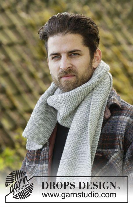 Cedar Falls mens scarf in garter sts by DROPS Design. Free #knitting pattern