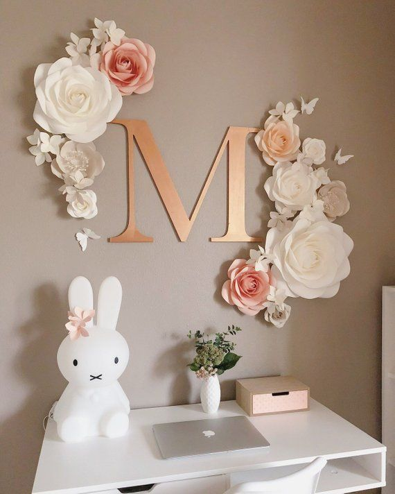 "Paper Flowers Wall Decor  Nursery Paper Flowers Set  Wall Paper Flower Decoration  Large Paper Flowers is part of Paper flower wall decor - Paper flowers set in white, dark coral and light coral   This set includes  1 flower of 15"" diameter   1 flower of 12"" diameter   3 flowers of 10"" diameter   3 flowers of 7"" diameter   3 flowers of 5"" diameter   10 clusters of 3 mini hydrangeas   3 butterflies  Letter sign, 18 inches tall  The letter is laser cut from MDF, 8mm thickness, and comes painted   Custom orders are welcome"