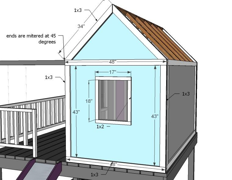 Ana white build a playhouse gable end walls free and for Easy to build playhouse