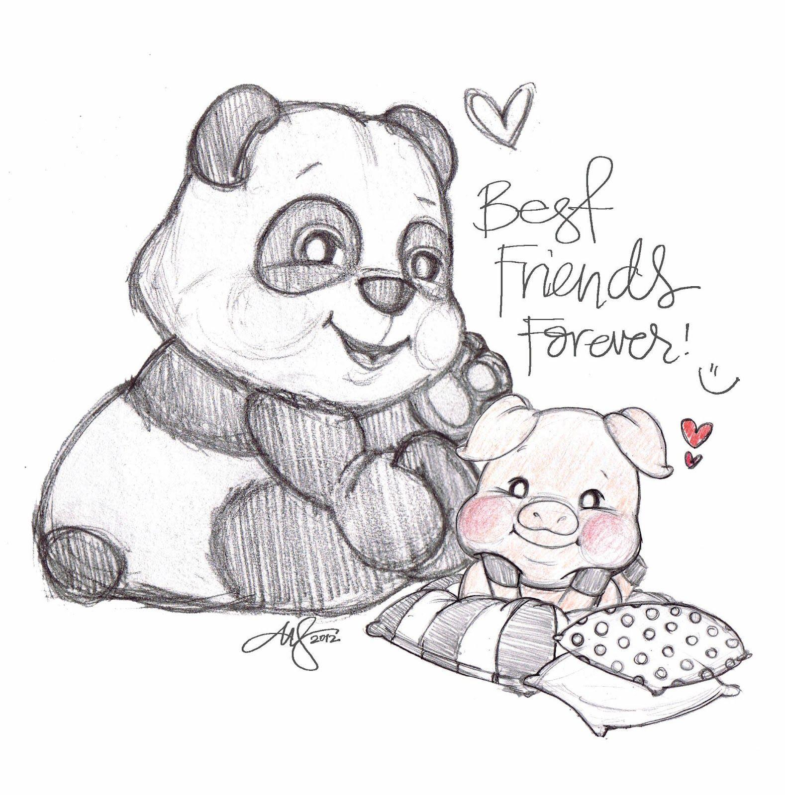 bff panda Aquarela