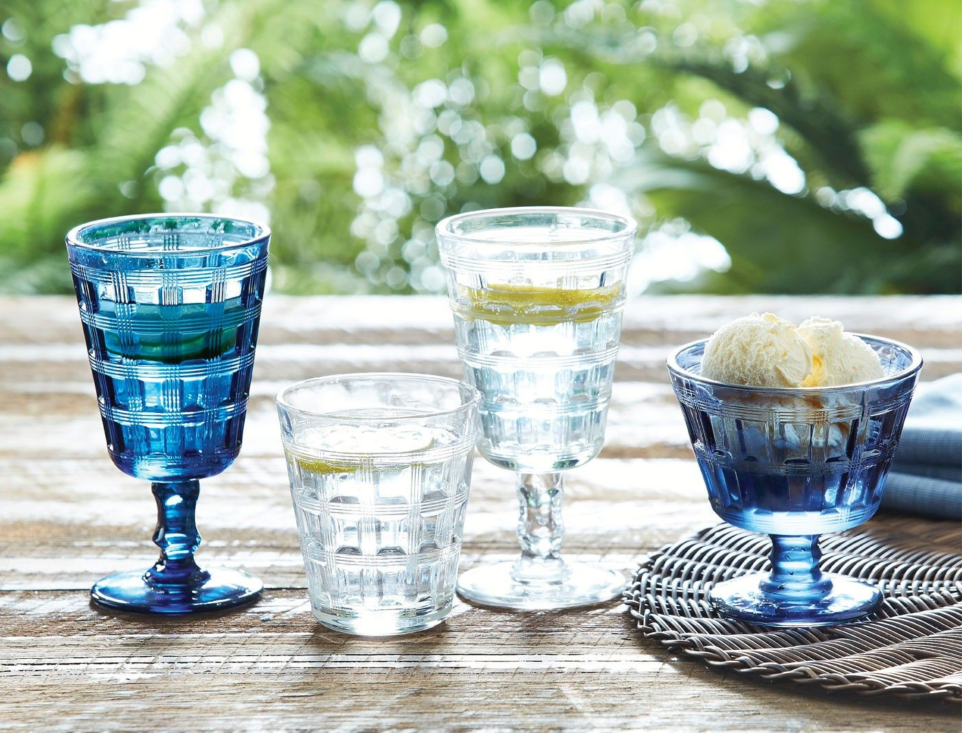 Blue tile glass goblet from Morgan Finch - these are coming home - ten of them. I love them