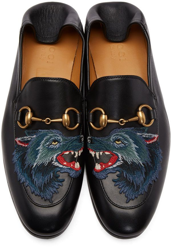 Leather loafer with wolf - Black Gucci lZQ8fwZgdv