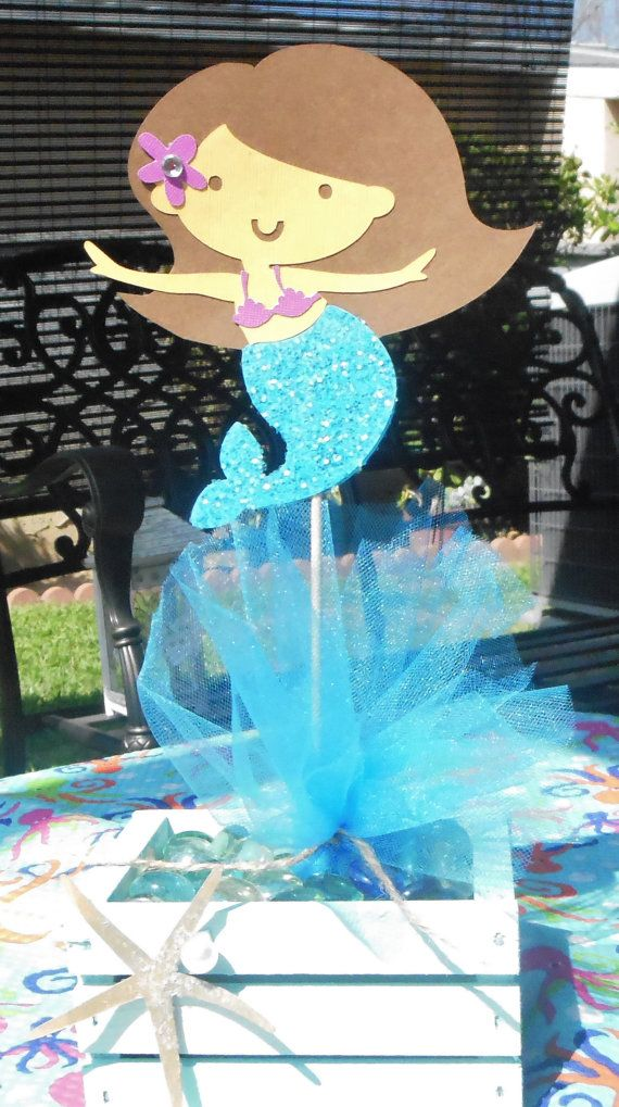 adorable mermaid centerpiece topper miss c 39 s 1st birthday. Black Bedroom Furniture Sets. Home Design Ideas