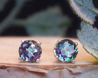 Alexandrite Earrings Dainty Mystic Topaz Brilliant Cut Purple And Green Studs