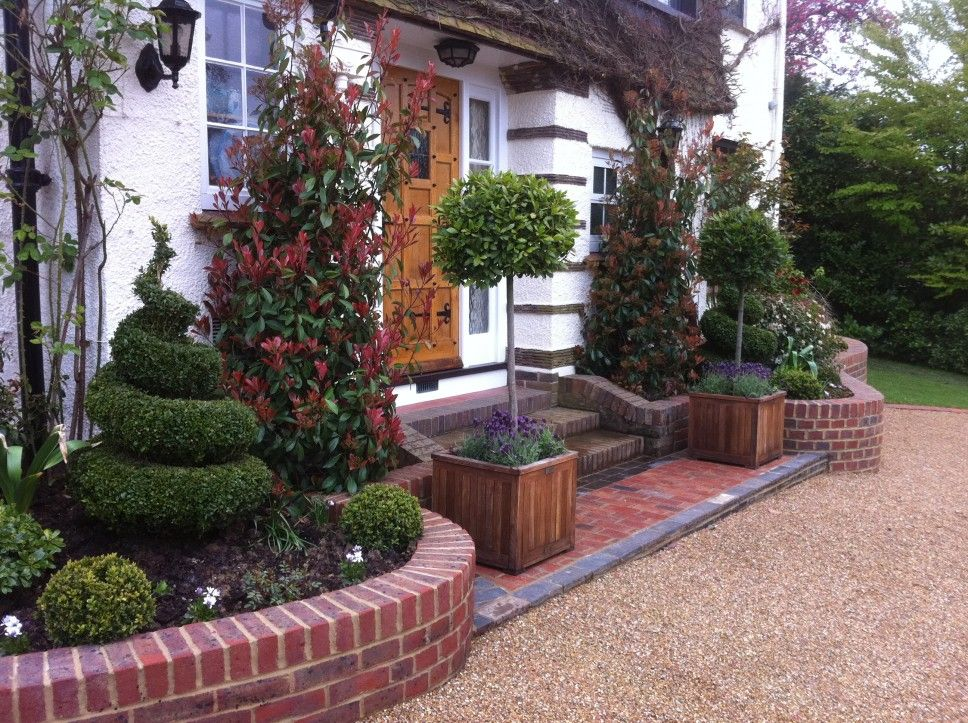 Decoration Adorable Front Gardens Designs: Engaging Front Garden Decorating  Exterior With Small Garden In Red
