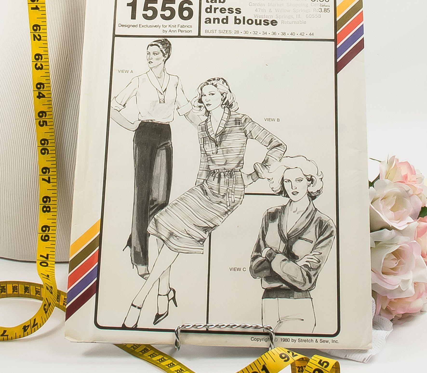 Tab Sleeve Dress - Pattern 1556 - Vintage Sewing Pattern - Vintage ...