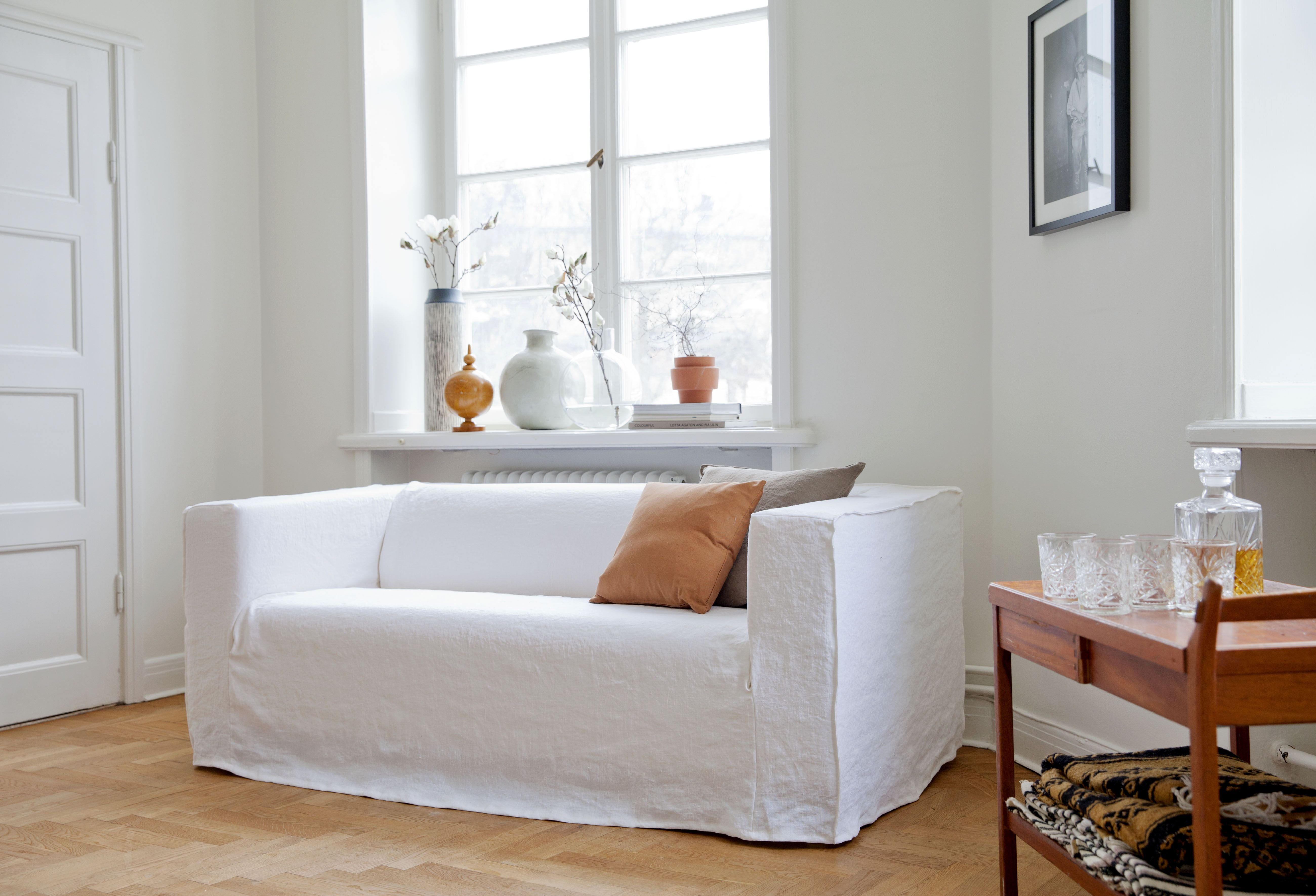 White With Accents Klippan Sofa Cover Loose Fit Urban Stye Absolute White Rosendal Pure Washed Linen Cushion Covers In Chestn Klippan Sofa Covers Ikea Sofa