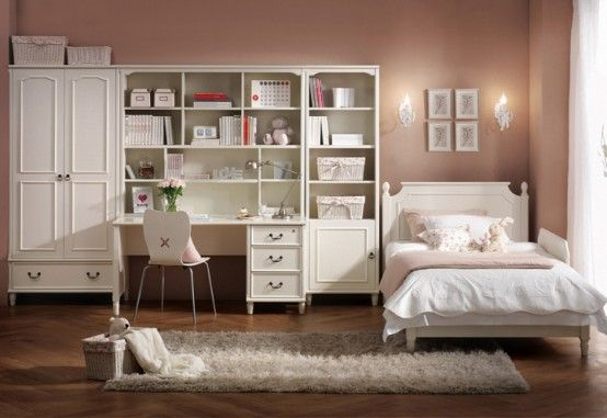 College Student Bedroom Interior Decorating Ideas With White Furniture