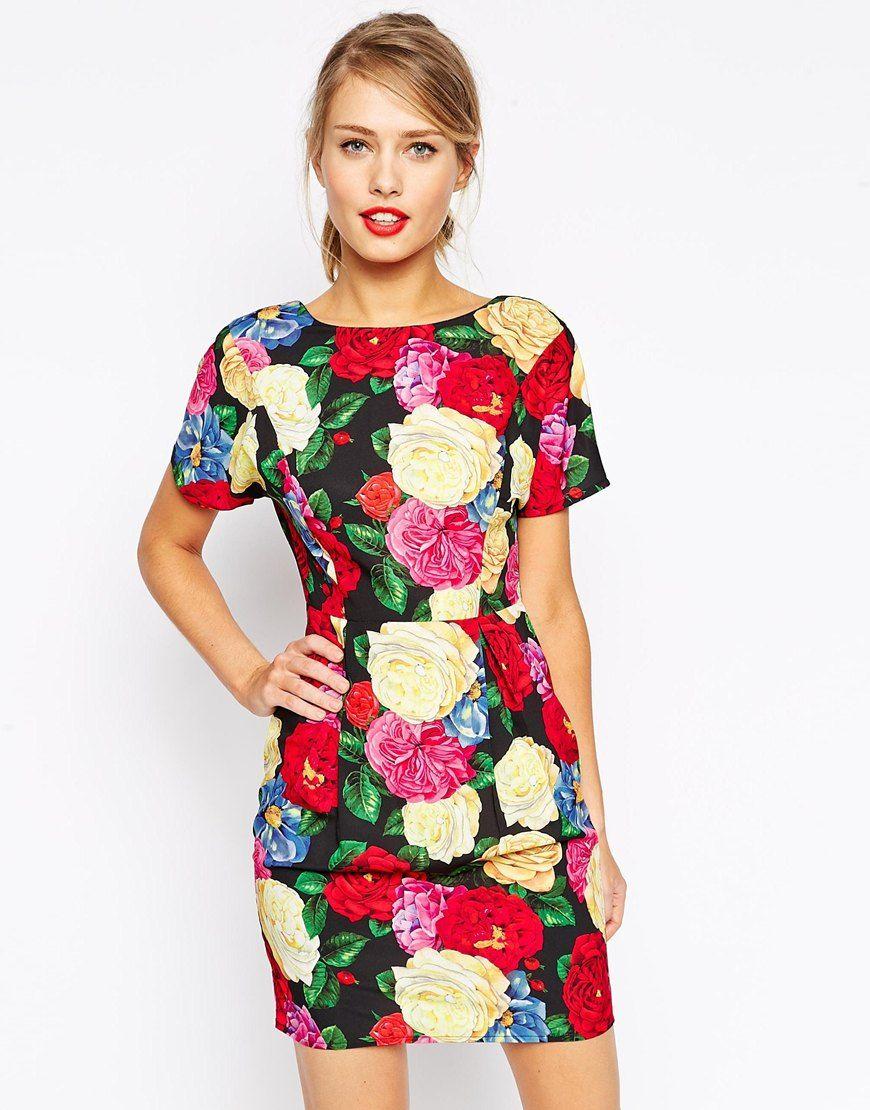 b55dd8abbee Image 1 of ASOS Mini Wiggle Dress in Rose Print