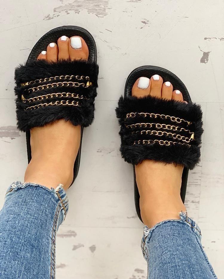 Fluffy Chain Detail Open Toe Slippers Fluffy Chain Detail Open Toe Slippers Free Shipping  30 days Easy Return