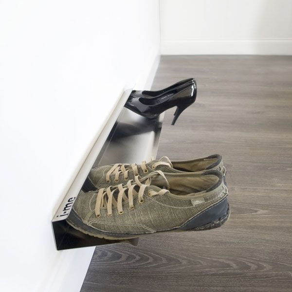 The Horizontal Shoe Rack offers a modern, stylish & convenient way of storing shoes. The Horizontal Shoe Rack gives the appearance that shoes are floating off of the floor! If storing all your shoes is becoming a problem, this stainless steel horizontal shoe rack is the perfect solution.