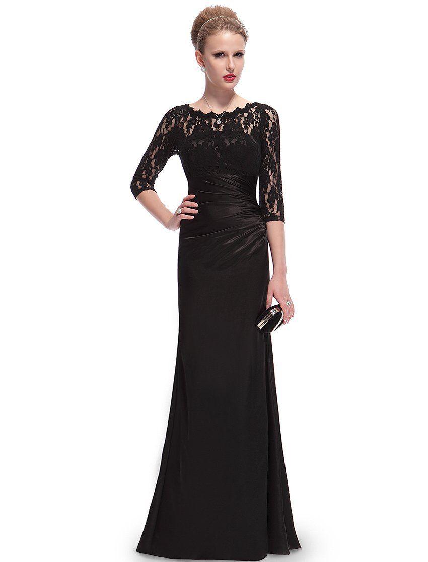 Ever Pretty Elegant 3/4 Sleeve Lace Women's Long Black Evening ...