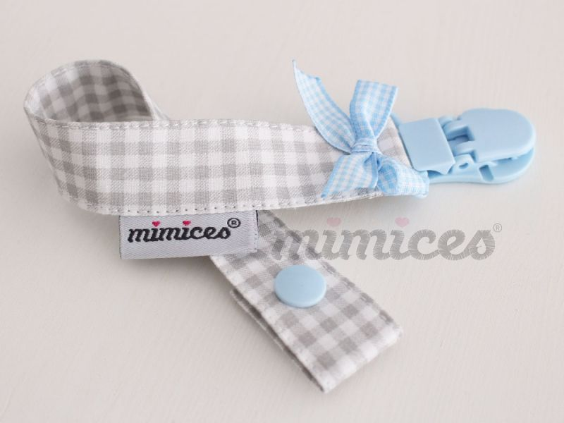 Fita da chucha :: Cinza/Azul bebé :: Mimices