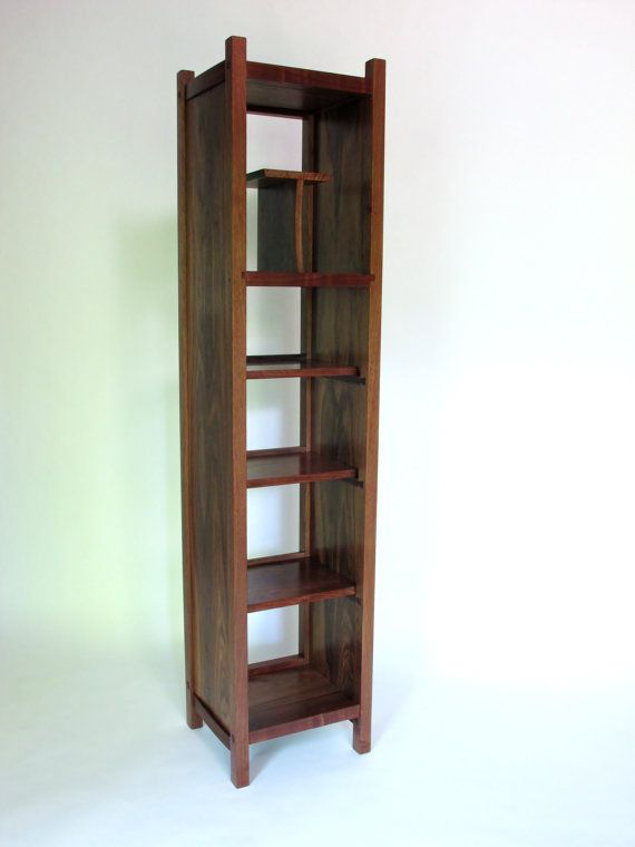Open Bookcase Tall Storage Cabinet Narrow Bookcase Modern Media Tower Handmade Wood Furniture Tall Cabinet Storage Bookcase Custom Wood Furniture