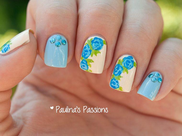 Blue Rose Nails Blue Prom Nails Rose Nails Blue Nails