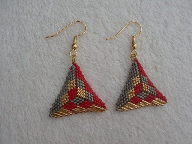 Red earrings, loom bracelet, women jewelry, hook earrings, peyote stitch, beads miyuki, women gift, Christmas, birthday