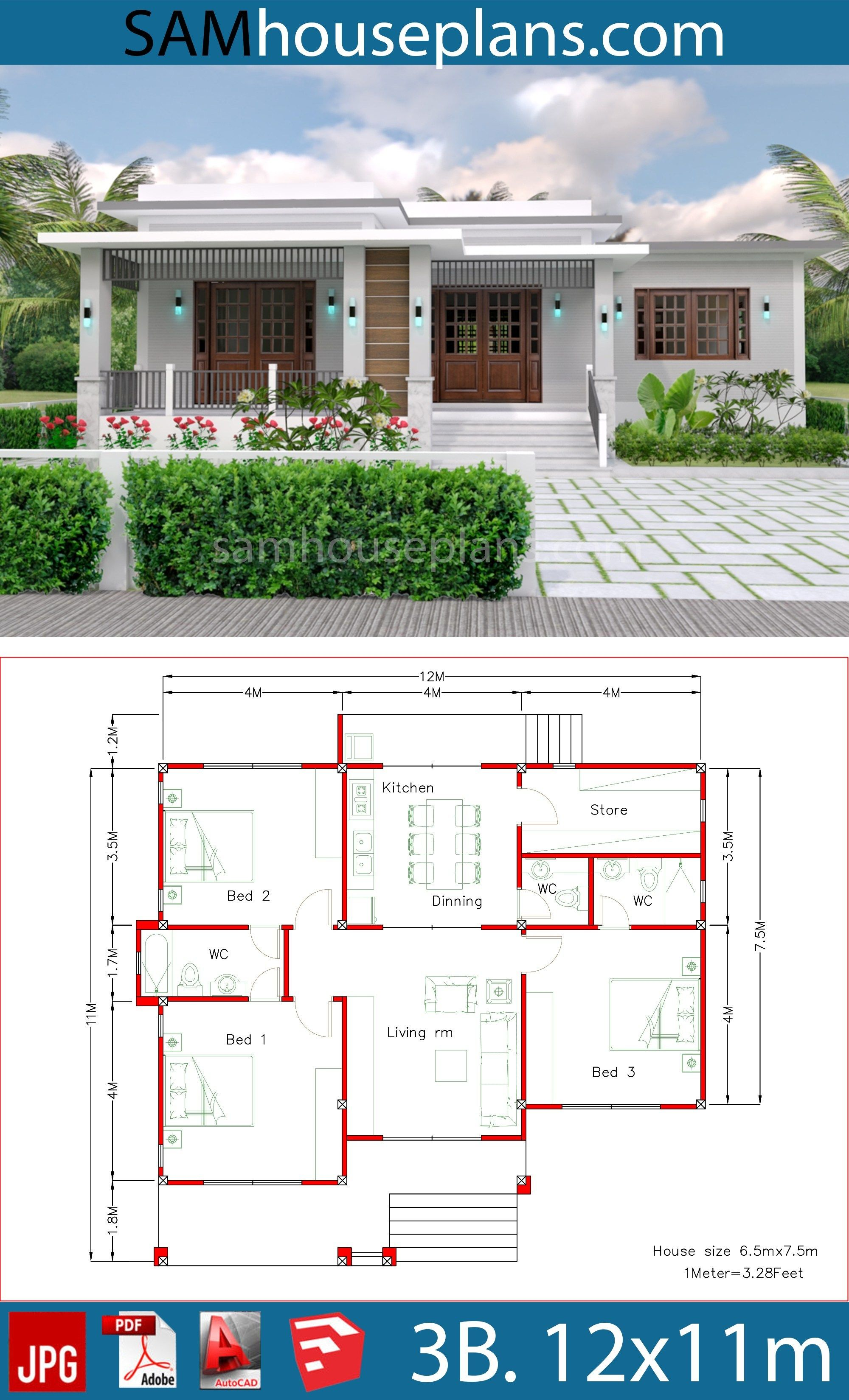 House Plans 12x11m with 3 Bedrooms | Village house design ...