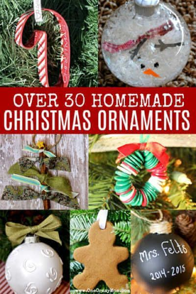 We've rounded up over 30 Easy Homemade Christmas Ornaments. These ornament ideas are simple to make and many use what you already have. Try these fun ideas! #Christmas #ChristmasOrnaments