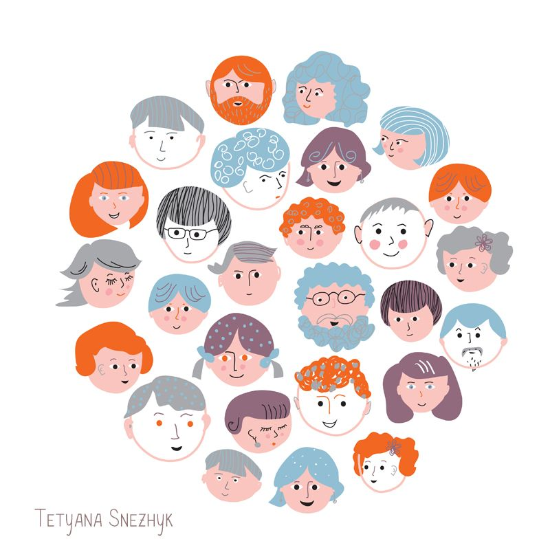 People funny faces - Tetyana Snezhyk vector illustration