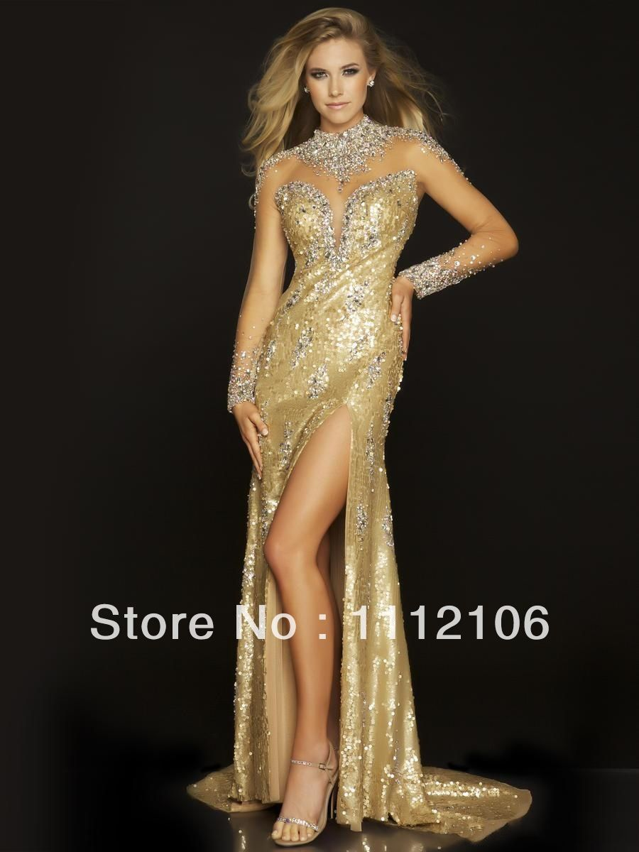 Long Sleeve Formal Dresses | ... Long-Sleeve-Prom-Dresses-High-Slit ...