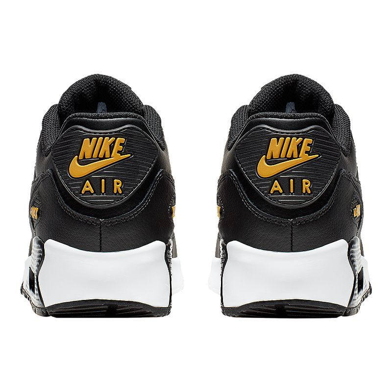 Nike Boys' Air Max 90 Leather Grade School Shoes Black