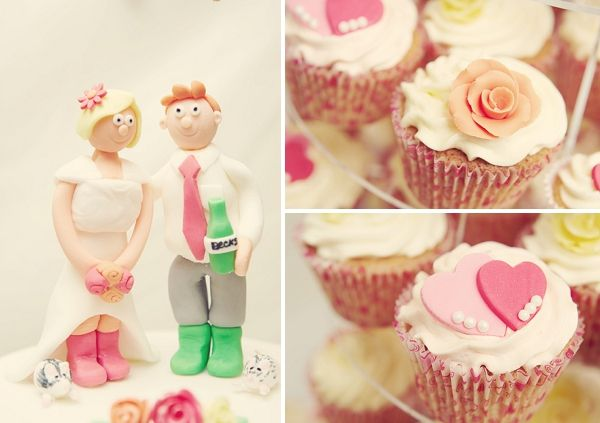 Cupcakes & cake topper -  Kent Vintage Wedding Festival Caroline & Glenn Tenterden Rebecca Douglas Photography 15