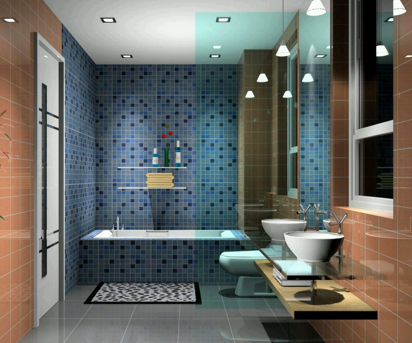 stunning-small-modern-bathroom-ideas-wallmounted-soap-case-blue-tile ...