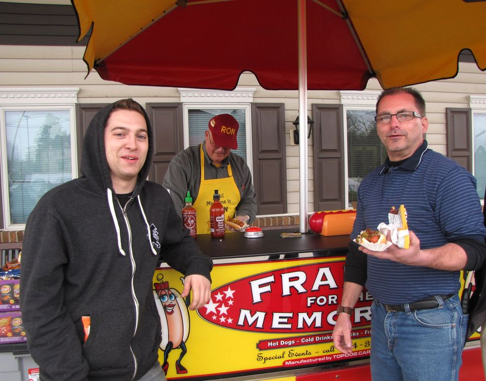 David and Bill get their hot dogs on Employee Appreciation Day