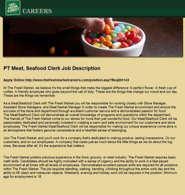 Pt Meat Seafood Clerk Job Description Destin Fl The Fresh