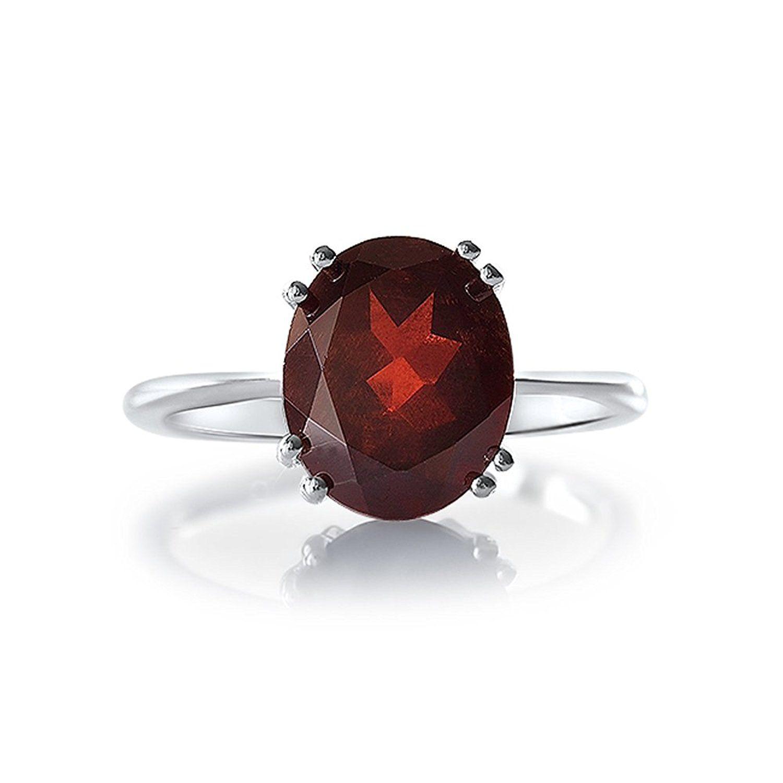 Banithani Garnet 925 Sterling Silver Ring For Women Gemstone Rings Finger Band Jewelry