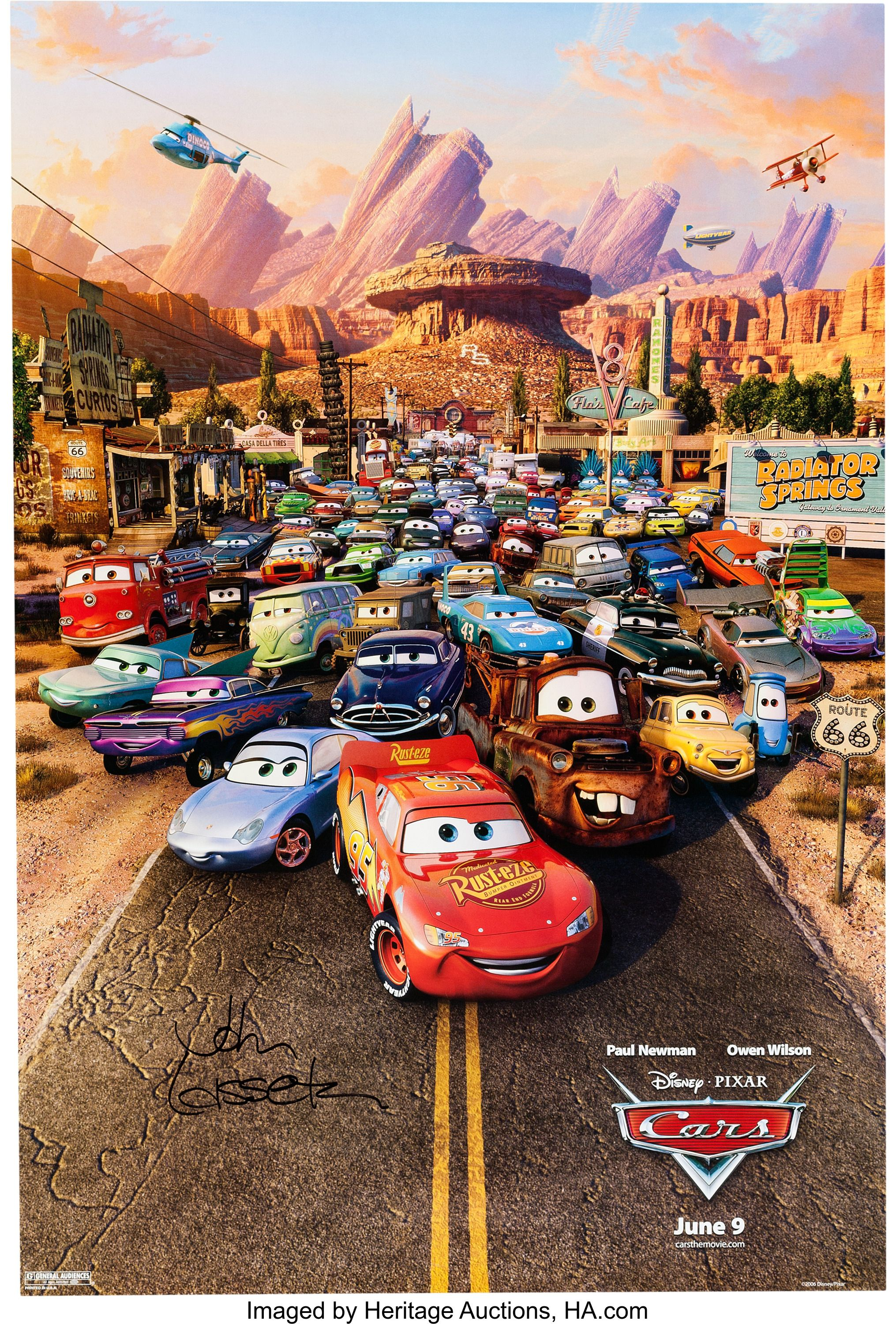 Cars Theatrical Poster Signed By John Lasseter Group Of Lot
