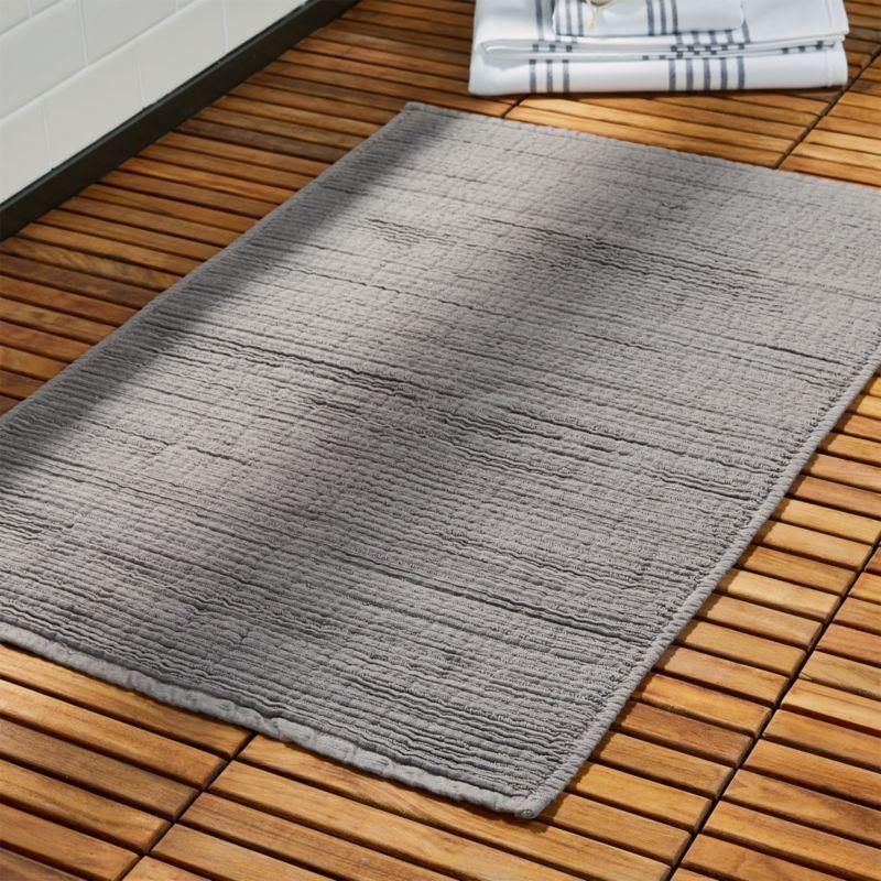 Shop Baxter Cool Grey Cotton Bath Mat Textured Grey Bath Mat