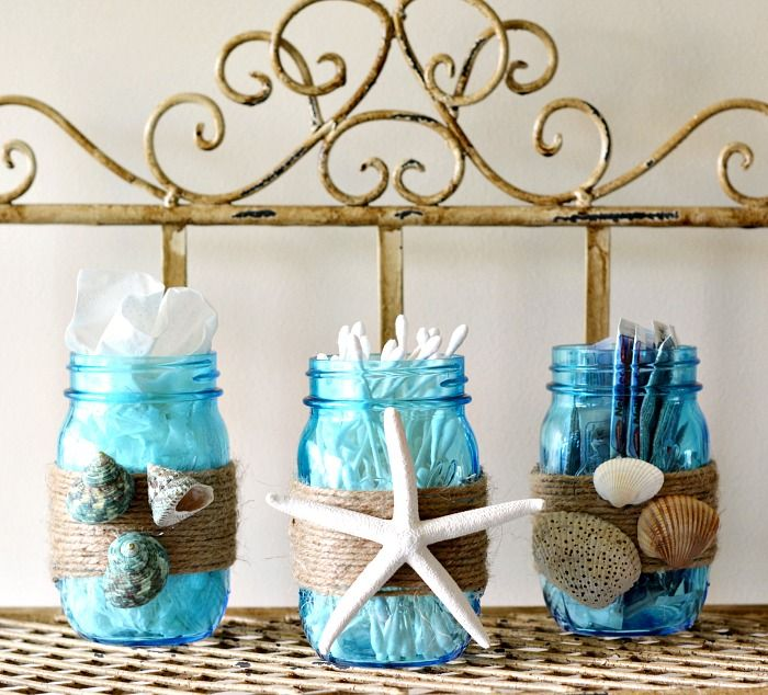 Diy beach themed bathroom mason jar storage set craft for Beach themed bathroom decor