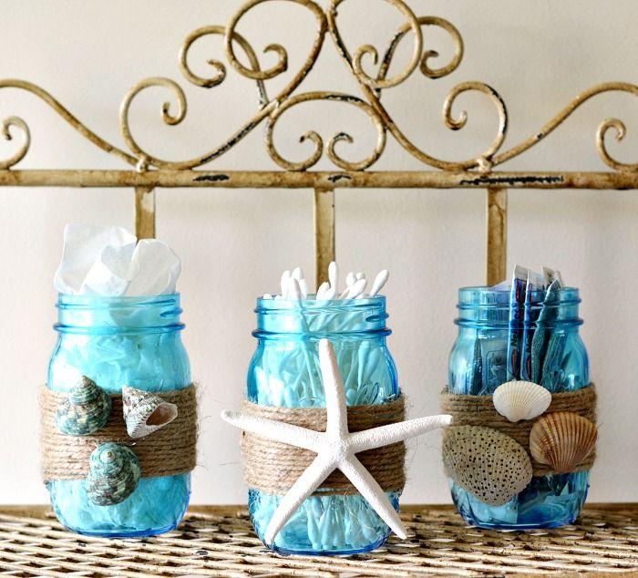 Diy Beach Themed Bathroom Mason Jar Storage Set Mom By The Beach
