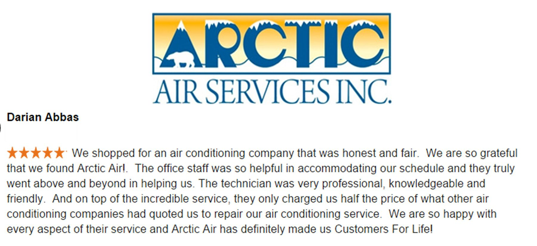 A Testimonial For Arctic Air Services Air Conditioning Companies