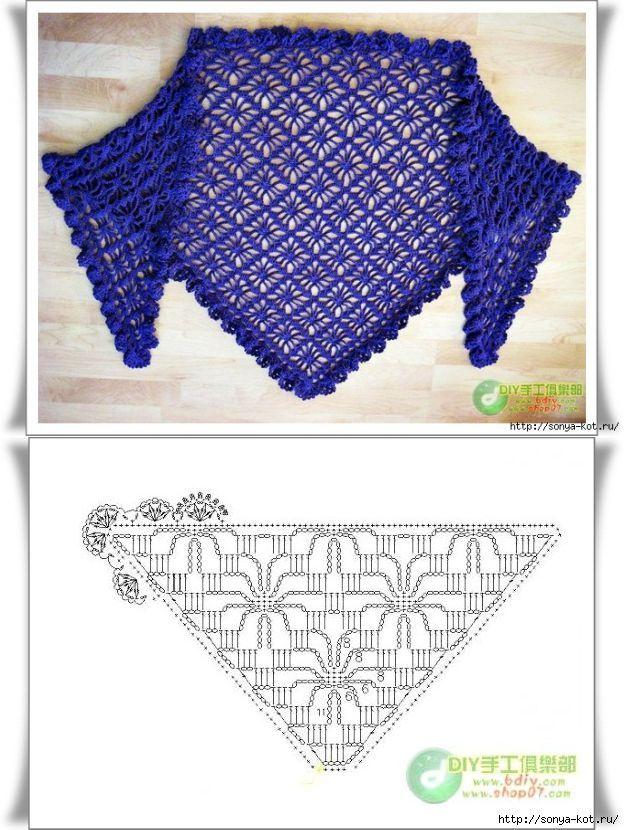 MES FAVORIS TRICOT-CROCHET: 18 grilles de châles au crochet | Chal ...