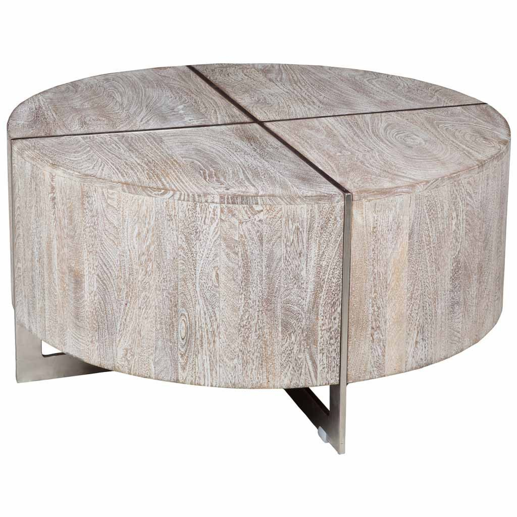 Mango Wood Coffee Table Distressed Gray: Desmond Round Coffee Table