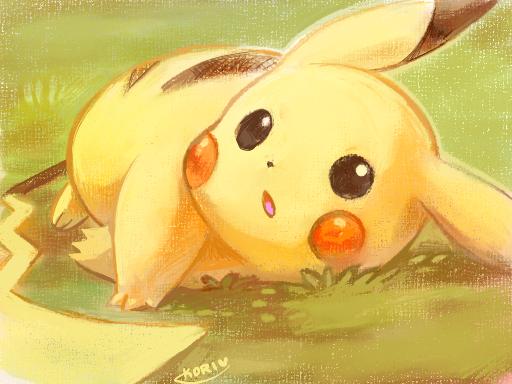 pikachu laying on the grass by kori7hatsumine.deviantart.com on @DeviantArt. #Pokemon #Pikachu #fanart